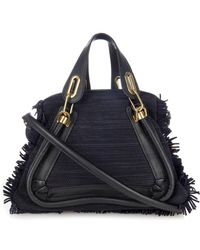 Chloé Paraty Medium Woven-Suede And Leather Tote - Lyst