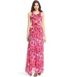 Diane von Furstenberg Dvf Davina Jersey And Chiffon Combo Maxi Dress - Lyst