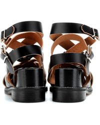 Acne Studios | Lenna Leather Wedge Sandals | Lyst