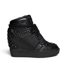 Ash 'Azimut' Textured Leather High Top Wedge Sneakers - Lyst