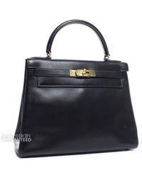 Hermès Pre-Owned Black Box Calf Vintage Kelly 28 Bag - Lyst