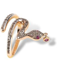 Nayla Arida - Snake Phalanx Ring Rose Gold Brown Diamonds - Lyst