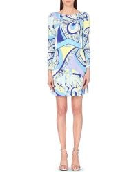 Emilio Pucci Abstract-Print Jersey Dress - For Women blue - Lyst
