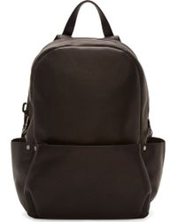 Calvin Klein Black Leather Oversized Zip Backpack - Lyst