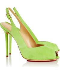 Charlotte Olympia Tina Suede Slingback Pumps - Lyst