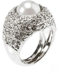 Kenneth Jay Lane - Women's Silver Tone Pearl Center Ring - Lyst