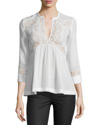 Rebecca Taylor 3/4-sleeve Silk & Lace Top - Lyst