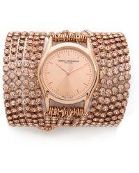 Sara Designs - Swarovski Crystal Wrap Watch - Rose Gold/Clear - Lyst
