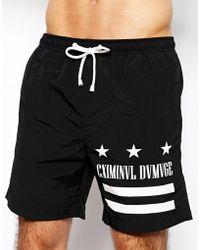 Criminal Damage Cannes Swim Shorts Black - Lyst