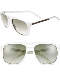 Gucci 57Mm Aviator Sunglasses - Lyst