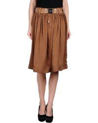 High Knee Length Skirt - Lyst