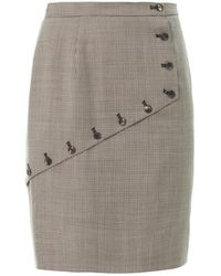 McQ by Alexander McQueen Houndstooth Asymmetric Panel Skirt black - Lyst