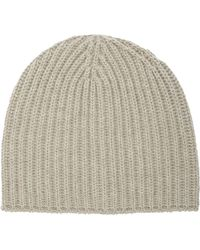 Barneys New York Rib-Knit Hat beige - Lyst