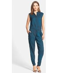 Halston Heritage Print Stretch Charmeuse Jumpsuit - Lyst