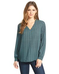 Pleione - High/low V-neck Blouse - Lyst