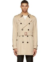 Burberry London Beige Britton Trench Coat - Lyst