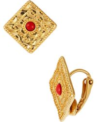 Lauren by Ralph Lauren - Square Drop Earrings with Semiprecious Stone Accents - Lyst