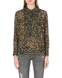 Etoile Isabel Marant Charley Leopard Print Chiffon Shirt Bronze - Lyst
