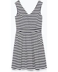 Zara Striped Dress With Skirt Pockets - Lyst