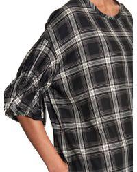 Yohji Yamamoto Regulation - Ruffle-sleeve Checked Cotton-twill Dress - Lyst
