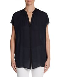 Vince Contrast Placket Silk Pullover - Lyst