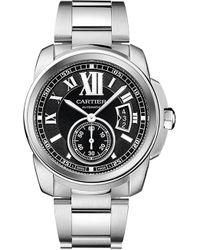 Cartier Calibre De Stainless Steel Watch - For Men silver - Lyst