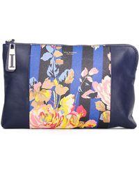 Isaac Mizrahi New York - Cybil Leather And Coated Canvas Clutch - Lyst