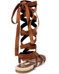 Miu Miu - Suede & Espadrille Lace-up Flat Sandals - Lyst
