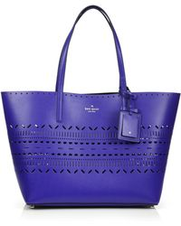 Kate Spade Lillian Laser-Cut Leather Tote blue - Lyst