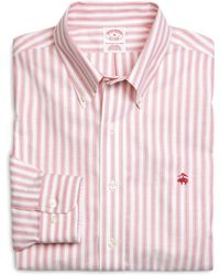 Brooks Brothers Supima Cotton Noniron Regular Fit Herringbone Stripe Oxford Sport Shirt - Lyst