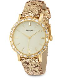 Kate Spade Metro Grand PavÉ Goldtone Stainless Steel & Interchangeable Glitter Strap Watch - Lyst