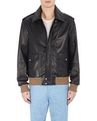Loewe | Contrast-rib-knit Leather Jacket | Lyst