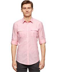 Calvin Klein Textured Slub Slim-Fit Shirt pink - Lyst