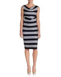 Max Mara Cowlneck Striped Sheath Dress - Lyst
