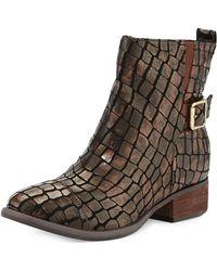 Donald J Pliner Plata Crocodileprint Leather Boots - Lyst