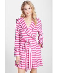 Betsey Johnson Hooded Stripe Terry Robe - Lyst