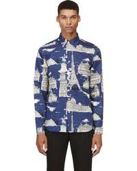 Burberry Prorsum Navy and Grey Paris Landmark Shirt - Lyst