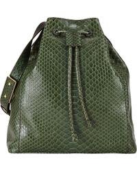 Zagliani Python Ada Bucket Bag green - Lyst