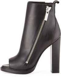 Rachel Zoe Jillian Leather Peep-toe Bootie - Lyst
