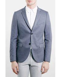 Topman Mid Blue Skinny Fit Jersey Blazer - Lyst