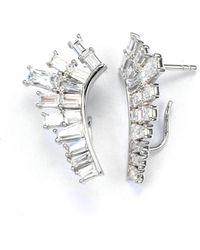 V Jewellery Deco Baguette Lobe Earrings - Lyst