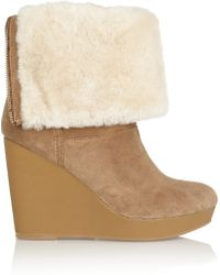 Kors by Michael Kors - Horwich Shearling-lined Suede Wedge Boots - Lyst