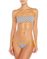Aquascutum - Check Print Bandeau Bikini - Lyst