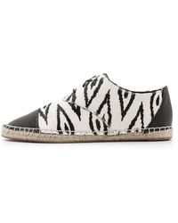 Cynthia Vincent Fatima Lace Up Haircalf Espadrilles - Black/White - Lyst