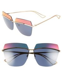 Dior Women'S 63Mm Retro Metal Sunglasses - Rose Gold/ Blue Red Mirror - Lyst