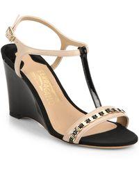 Ferragamo Malina Patent Leather T-Strap Wedge Sandals - Lyst