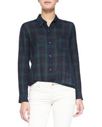 Etoile Isabel Marant Ipa Plaid Buttoned Top - Lyst