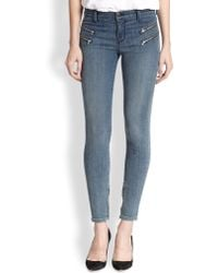 J Brand Cass Mid-Rise Skinny Moto Jeans - Lyst
