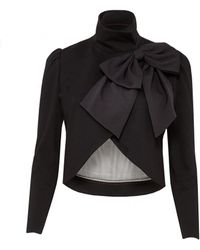Alice + Olivia Addison Bow Collar Crop Jacket - Lyst