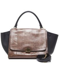 Celine Pre-Owned Brown Python Black Leather Trapeze Bag - Lyst